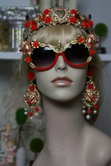 1338 Designer Baroque Red Frame Cherub Heart Embellished Sunglasses