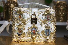1284 Spring 2017 Collection Designer Inspired Cameo Virgin Mary Embellished Trunk Handbag