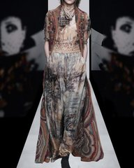 2142 Designer Inspired Silk Chiffon Pale Print Twinset