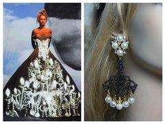SOLD! 1473 Baroque Chandelier  Pearl Studs Earrings