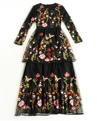 1806 2 Colors Butterfly Flower Embroidery Mid Cuff  Dress Gown