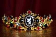 SOLD! 2122 Set Of Baroque Unicorn Crystal Tiara Crown+ Earrings