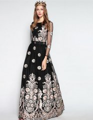 1101 Designer Luxury Embroidery Maxi Black Dress