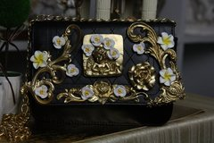 470  KIDS Total Baroque Gold Cherub Yellow Flower Adorable Purse Handbag
