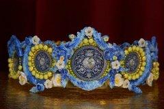 2005 Italian Tile Print Hand PAinted Enamel Full Circle Crown
