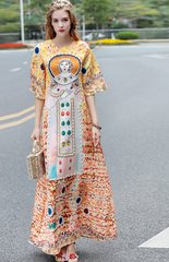 1829 Designer Beaded Pearl Mosaic Print Maxi Dress