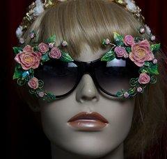 SOLD!1962 Elegant Vivid Hand Painted Leaf Roses Embellished Sunglasses