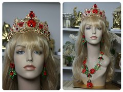 1408 Baroque Designer Inspired Ladybug Crystal Poppy Crown