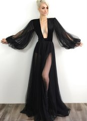 1796 2 Colors Sheer Deep V-neck Gown