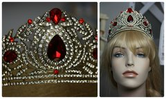 899  Royal Baroque Runway Tall Red Crystal Clear Crown Tiara