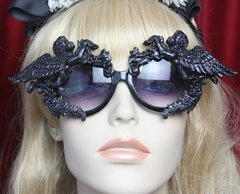 2503 Total Baroque Black Glitter Cherub Angel Embellished Sunglasses
