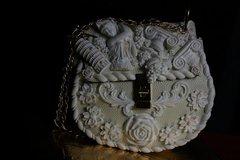 SOLD!Total Baroque Roman Architect Milky Embellished Unique Purse Handbag
