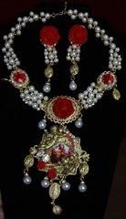 1984 Set Of Virgin Mary Pearl Rose  Crystal Necklae+ Earrings