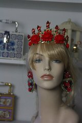 SOLD! 109 Baroque Impressive Red Peony Crystal Royal Crown Headband