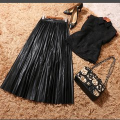 2356 High-End Plaeded Liquid Faux Leather Skirt+ Top Twinset