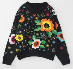 1539 Floral Embroidery Warm Winter Oversized Sweater