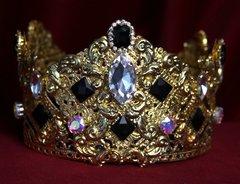 SOLD! 1701 Total Baroque Tasll Black Crystal Curves Crown Headband