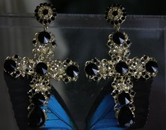 1142 Black Crystal Baroque Cross Studs Earrings