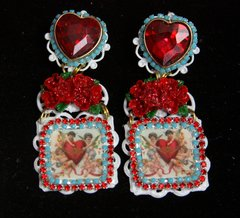 SOLD! 2215 Cupids Caroque Adorable Red Rose Heart Studs Earrings