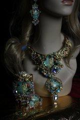 SOLD! 151 Renaissance Zibellini Birth Of Venus Coral Long Rhinestone Statement Necklace