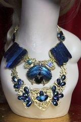 2101 Genuine Titanium Gemstone Scarab Baroque Necklace
