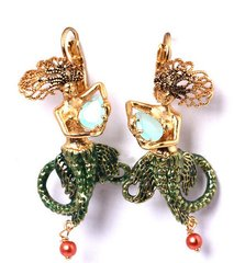 1136 Enamel Mermaid Detailed Incredible Earrings