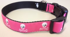 "1"" Hot Pink Jolly Roger Skulls Dog Collar"