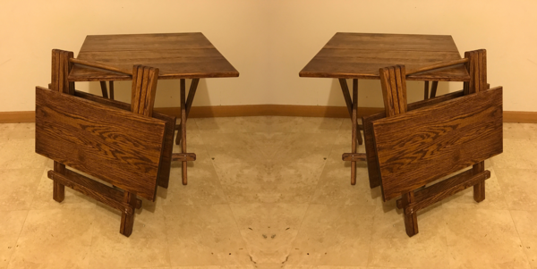 Double Snack Table Set Early American Stain | Oak Folding Tables