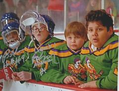 Autograph 8x10 Matt Doherty and Brandon Adams, Mighty Ducks; QUACK!
