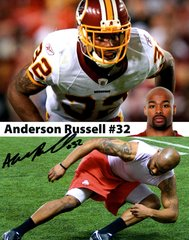Russell Anderson autograph 8x10, Washington Redskins