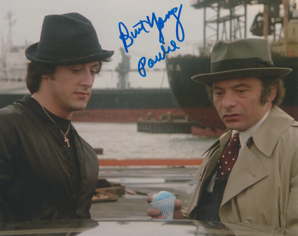 Burt Young autograph 8x10 with snow cone, Inscription ...