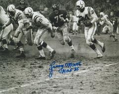 Lenny Moore autograph 8x10, Baltimore Colts, Inscription: HOF 75