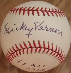 Mickey Vernon, autographed MLB baseball, Washington Senators, 7x All Star inscription