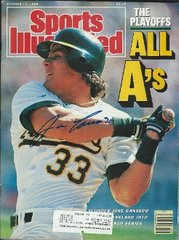Jose Canseco autograph Oct 17 1988 SI Magazine, Oakland A's