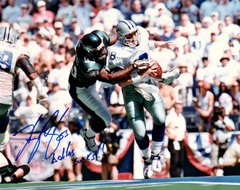Hugh Douglas autograph 8x10, Philadelphia Eagles, Dallas Sucks