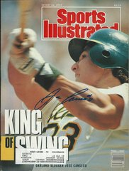 Jose Canseco autograph Aug 20 1990 SI Magazine, Oakland A's