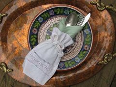 Embroidered Linens: Bag, Napkin