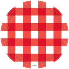 American Summer Red Gingham Round Plates, 10 1/2""