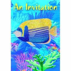 Coral Reef Folded w/Glitter Invitations