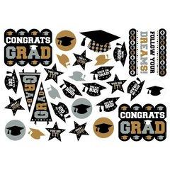 Grad Printed Paper Cutout Mega Value Pack - Black, Silver & Gold