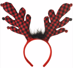 Buffalo Plaid Antler Headband