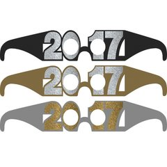 2017 New Year's Glitter Glasses Multipack - Black, Silver, Gold