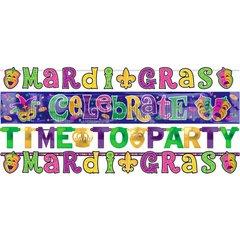 Mardi Gras Letter Banner Combo Pack 4ct