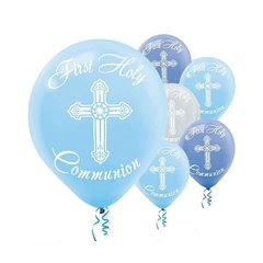 Communion Printed Latex Balloons - Blue