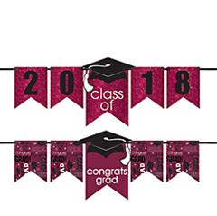 """""""2016-2019"""" Grad Personalized Glitter Letter Banner Kit - Berry"""