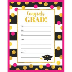 Gold Confetti Grad Invitations