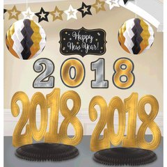 """2018"" New Year's Room Decorating Kit - Black, Silver, Gold"