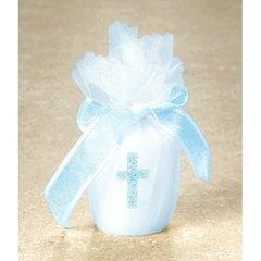 Votive w/Cross Candle - Blue