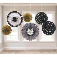 Grad Paper Fan Decorations - Black, Silver & Gold