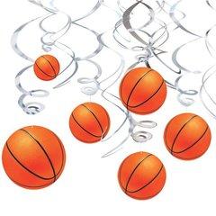 Basketball Swirl Decorations 12ct
